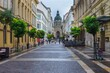 Zrinyi Street leading to St. Stephen's Basilica in Budapest after heavy rainfall