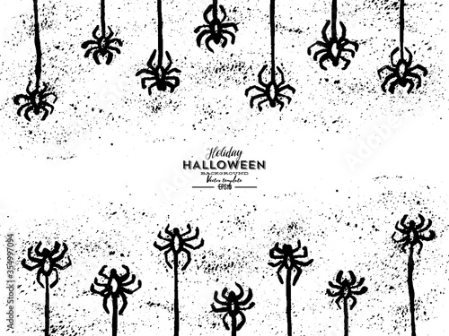 Photo Vector grunge hand-drawn isolated pattern with hanging spiders for decoration and covering on the transparent background