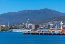 Mount Wellington Above Port Of Hobart In Australia