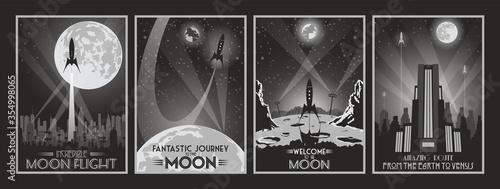 Fototapeta Retro Future Fantastic Movie Poster Set, Space Rockets, Moon, Art Deco Style Buildings, Cityscape Silhouettes, Monochrome Color Combinations  obraz