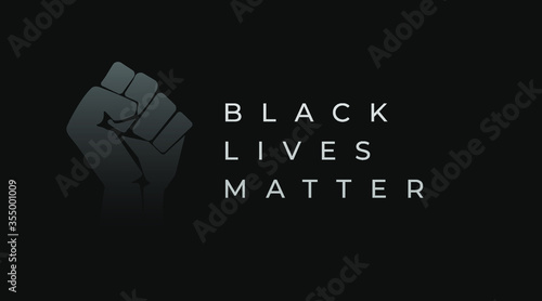 Fotografiet Black lives matter modern creative banner, cover, sign, design concept with revolution fist illustration, and white text on a dark background