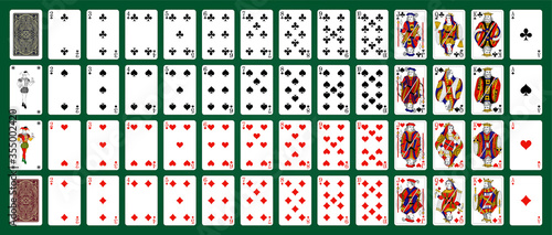 Fototapeta Poker set with isolated cards on green background. Poker playing cards, full deck. obraz na płótnie