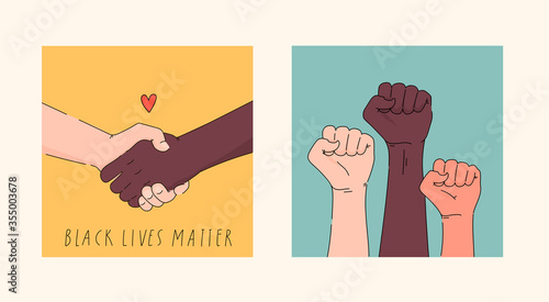 Obraz Black lives matter hand drawn poster, card collection. Hashtag blm stylised set. Black and white hands together concept. Campaign against racial discrimination of dark skin color. Vector Illustration. - fototapety do salonu