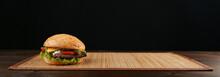 Classic American Burger On Dar...