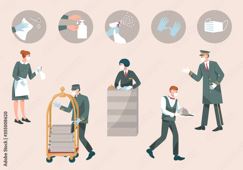 Fototapeta Hotel  staff with mask and gloves-receptionist, valet, waiter, doorman, maid. Prevention measures during coronavirus COVID 19-disinfect, wear mask, use sanitiser, gloves.New Normal.Vector