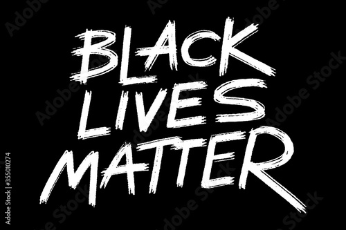 Valokuvatapetti African American's rights protest banner Black lives matter, grunge style lettering on the black background, ready to print template