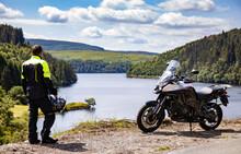 Adventure Motorcycle And Biker...