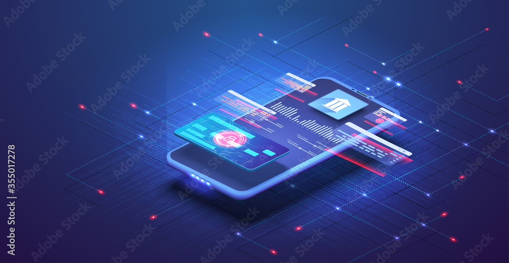 Fototapeta Online banking app landing page. Smart wallet concept with credit, debit card payment application. Gadget of the future, smartphone tech payment. Flat Isometric vector illustration. E-payment screen