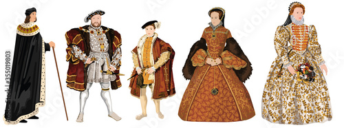 Photo Tudor Dynasty - Crowned Kings & Queens of Tudor England -Henry VII, Henry VIII,