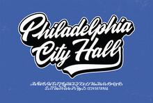 """Philadelphia City Hall"" Original Brush Script Font. Retro Typeface. Vector Illustration."