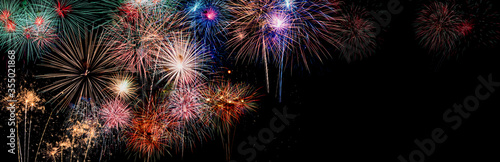 Fotografía Colorful holiday festival celebration fireworks in Happy New Year 2021 with blank copy space for banner