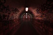 Dark And Long Underground Tunn...