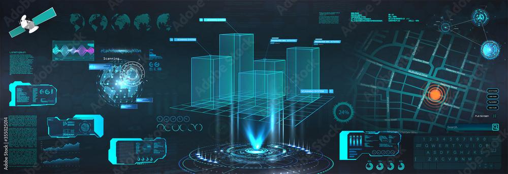 Fototapeta Advance HUD control center. Graphic Dashboard Head-up display and  Futuristic User Interface GUI, UI. Smart technology IOT and Sci-fi city. 3D model Hologram Earth Globe. Vector HUD elements set