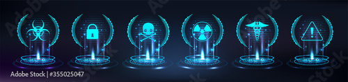Fototapeta Game checkpoint, hologram base. HUD, GUI hi-tech elements. Circle digital projector or teleport, or magic portal with glow effect. Virtual reality(VR) elements with icons symbols. Vector illustration obraz