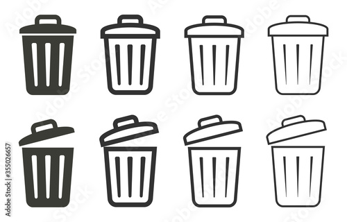 Photo Bin icon vector. Trash can icons set isolated. Delete icon.