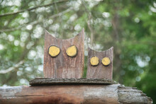 Wooden Carved Owls In The Gard...