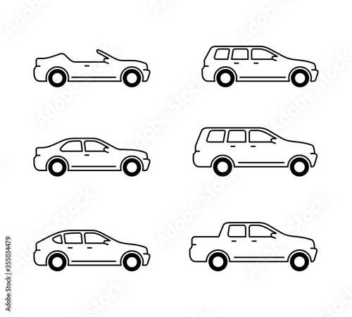 Fototapeta Vector cars set - outline monochrome automobiles with different car body - sedan, offroad, roadster, pickup, universal, hatchback - icons collection obraz na płótnie