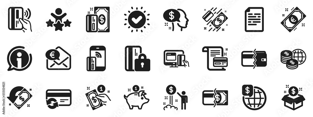 Fototapeta Update credit card, Contactless payment and Piggy bank icons. Money wallet icons. Online payment, Dollar exchange and Fast money send. Private pay, Blocked credit card and Wallet. Vector