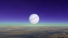Satellite Dish On Blue Sky Bac...