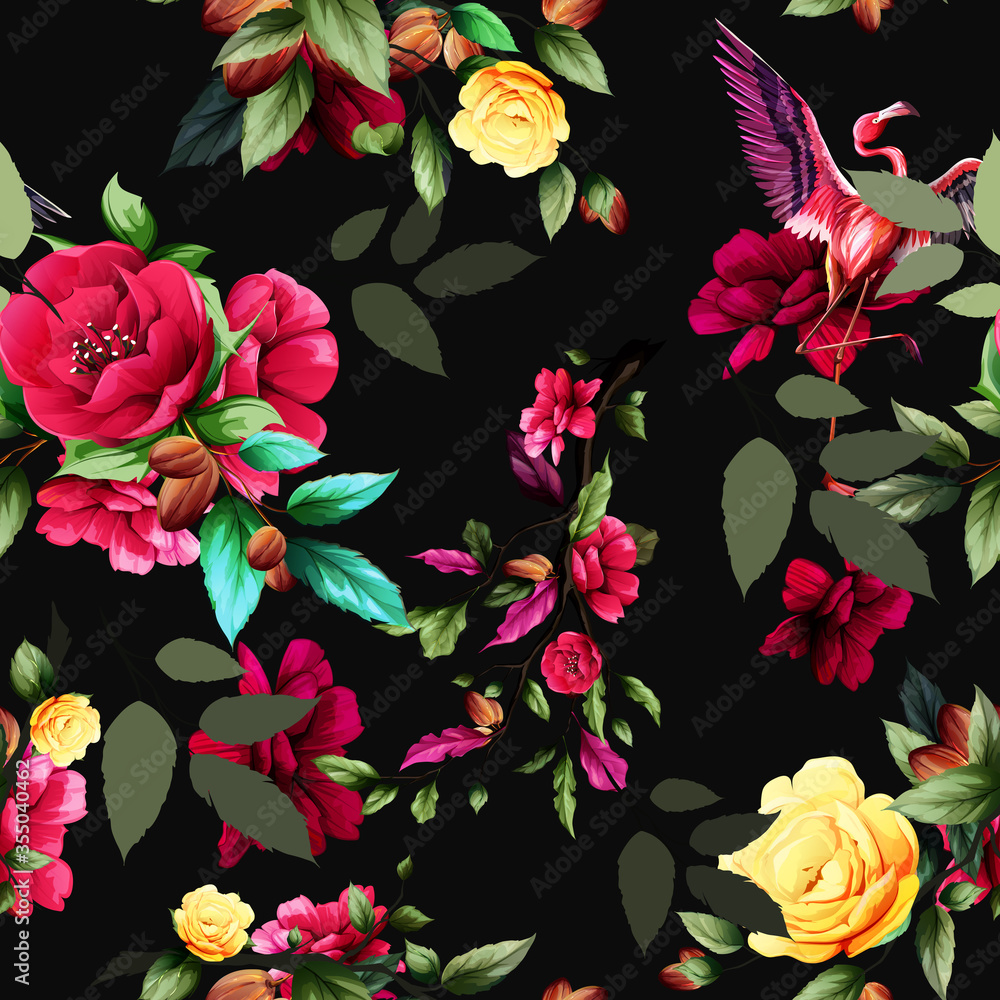 Seamless background pattern with abstract flowers, leaves and flamingo on black. Hand drawn illustration. vector - stock.