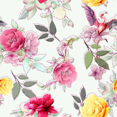 Fototapeta Vintage Seamless background pattern with abstract flowers, leaves and flamingo on white. Hand drawn illustration. vector - stock.
