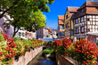 canvas print picture France travel. Most beautiful and colourful towns. Colmar in Alsace region with charming canals.