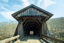 Livingston Manor, NY / United States - April 19, 2020: A View Of The Entrance To The Livingston Manor Covered Bridge