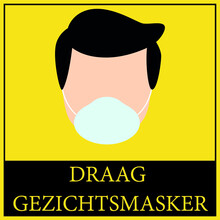 """Square Shape """"PLEASE WEAR FACE MASK"""" And Dutch """"DRAAG GEZICHTSMASKER"""" With Shoe Prints Sign. Social Distancing Instruction Icon. Black And Yellow Colour."""
