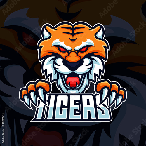 Obraz Beast Tiger head with paws and team text mascot logo vector. Modern Illustration esport gaming template design with club name typography - fototapety do salonu