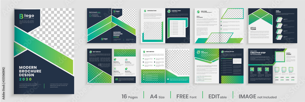Fototapeta Gradient modern brochure template layout design, elegant business profile layout, 16 pages, annual report, multipage brochure template layout.