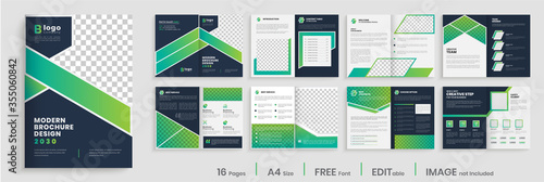 Fotografía Gradient modern brochure template layout design, elegant business profile layout, 16 pages, annual report, multipage brochure template layout