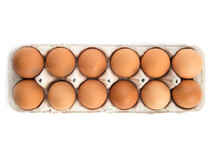 One Dozen Brown Eggs In A Cardboard Egg Carton Isolated On White