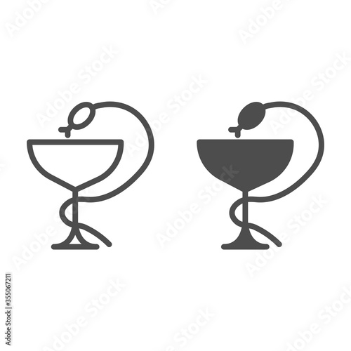 фотография Medical snake and cup line and solid icon, medicine concept, Pharmacy symbol on white background, Snake and glass icon in outline style for mobile concept and web design