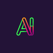 Initial Logo Letter AI, Linked...