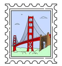 Travel Stamp For San Francisco, Golden Gate Bridge