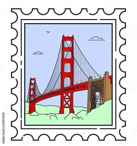 Canvas Print Travel stamp for San Francisco, Golden Gate Bridge
