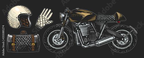 Motorcycle or Bike, retro motor bicycle Canvas Print