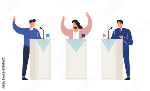 Photo People politicians standing on tribunes with raising hands vector isometric illustration