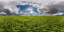 Full Seamless Spherical Hdri Panorama 360 Degrees Angle View Among Fields In Spring Day With Awesome Clouds Before Storm With Rainbow In Equirectangular Projection, For VR AR Virtual Reality Content