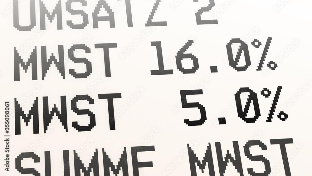 Fototapeta ngb9 NewGraphicBanner ngb - german: Mehrwertsteuer, Kaufbeleg, Kassenbon, Mehrwertsteuersatz von 19 Prozent auf 16 % und von 7 Prozent auf 5 %. - Quittung - financial / invoice - deutsch 16zu9 g9716
