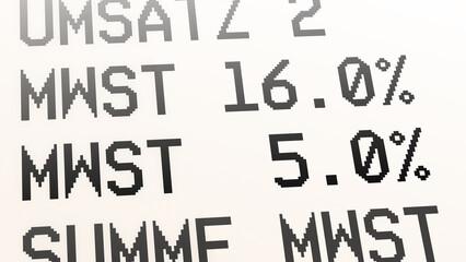 ngb9 NewGraphicBanner ngb - german: Mehrwertsteuer, Kaufbeleg, Kassenbon, Mehrwertsteuersatz von 19 Prozent auf 16 % und von 7 Prozent auf 5 %. - Quittung - financial / invoice - deutsch 16zu9 g9716