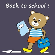 Smiling Bear Go To The School, Bear Holds School Bag And Workbook, Funny Vector Illustration