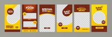 Food Instagram Story Post Template Design. Suitable For Social Media Post Restaurant And Culinary Promotion. Set Of Editable Sale Banners Red And Yellow Background Color With Stripe Line Shape Vector.