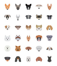 Breeds Of Dogs Flat Icons Set