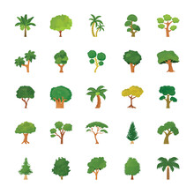 Trees Flat Vector Icons Set