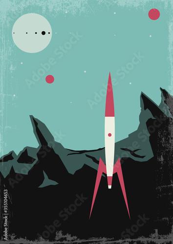 Retro Future Space Journeys Propaganda Poster Set, Mid Century Modern Art Style, Wallpaper Mural