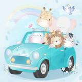 Cute animals driving a car illustration