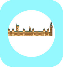 London Palace Of Westminster In England. Illustration For Web And Mobile Design.