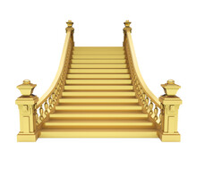 Golden Classic Staircase Isolated