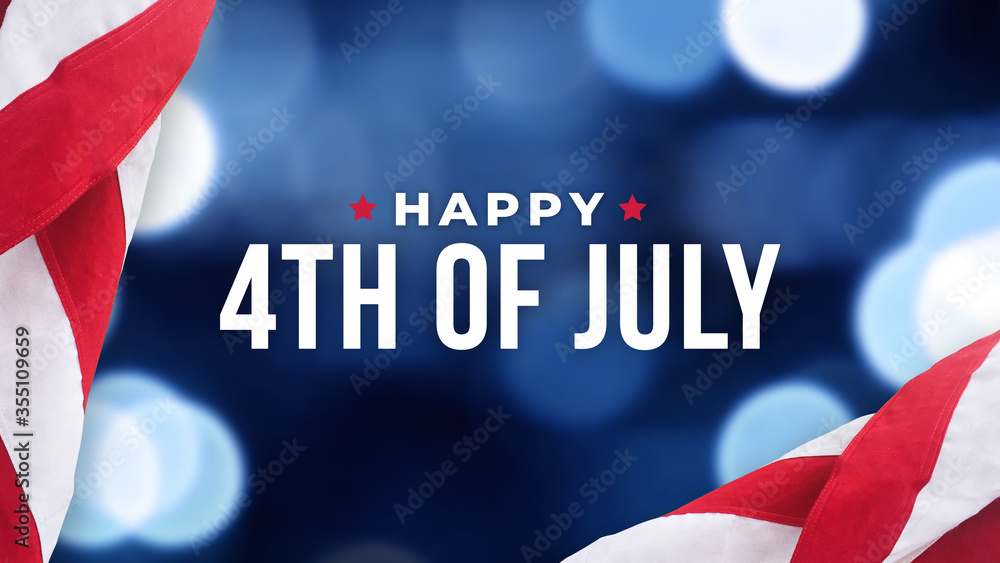 Fototapeta Happy 4th of July Text Over Blue Bokeh Lights Texture Background and Patriotic American Flags for Independence Day Holiday